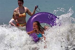 Safe family fun playing in the sea in Phuket in December